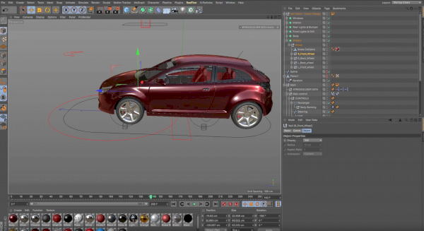 Car rig on cinema 4d