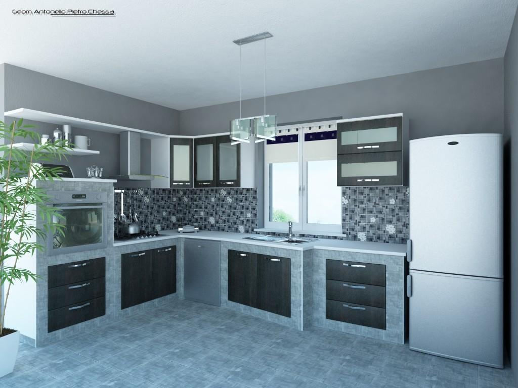 Struttura cucina in muratura - gres porcellanato effetto ...