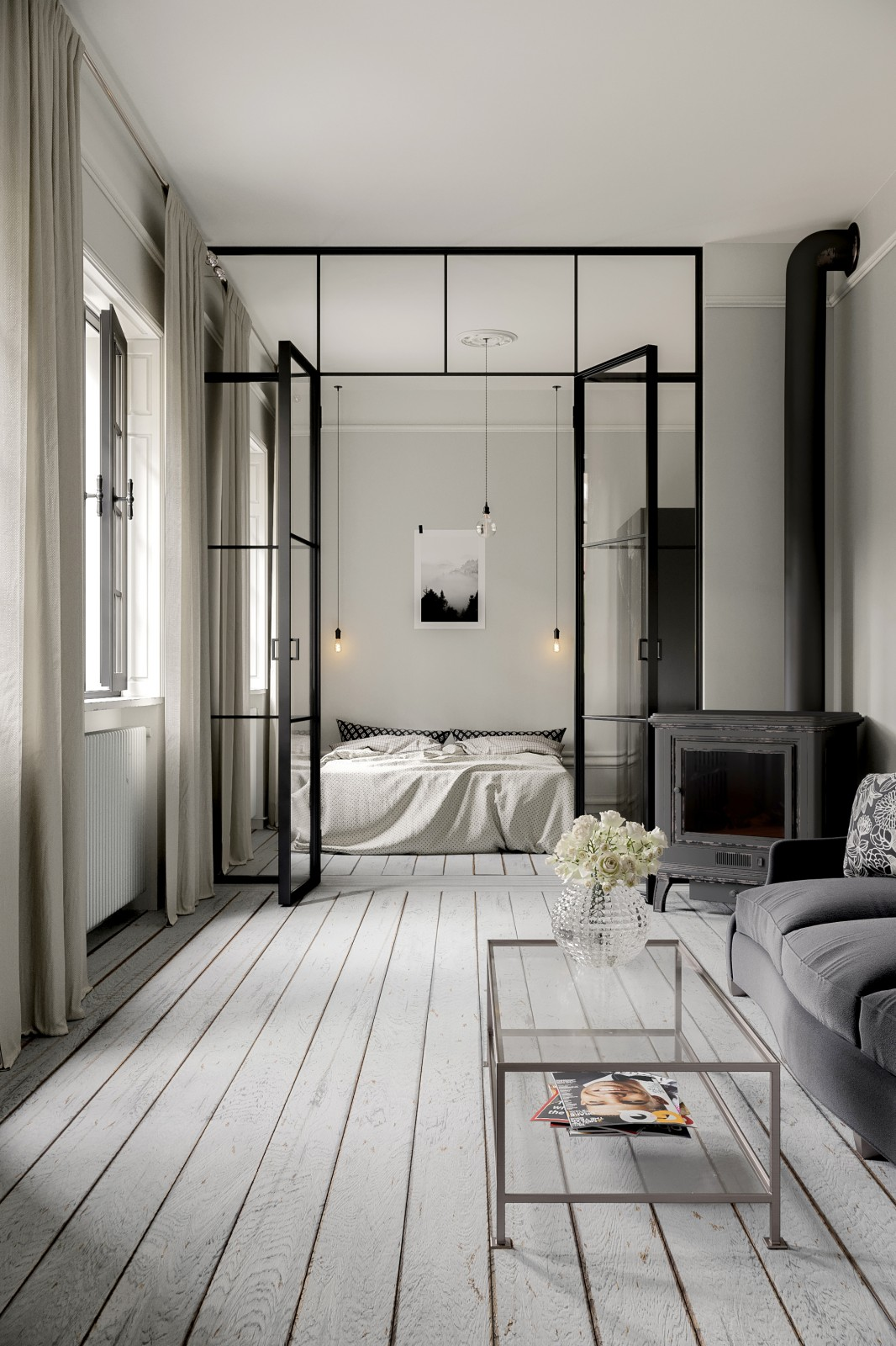 scandinavian bedroom interior